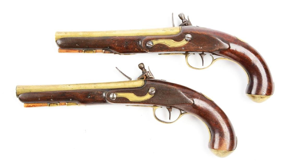 (A) Brace of Brass Barreled Flintlock Pistols by - 2