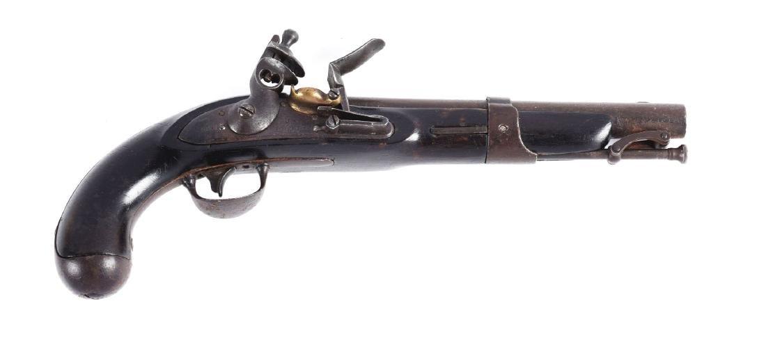(A) U.S. Model 1826 Navy Flintlock Pistol by S. North