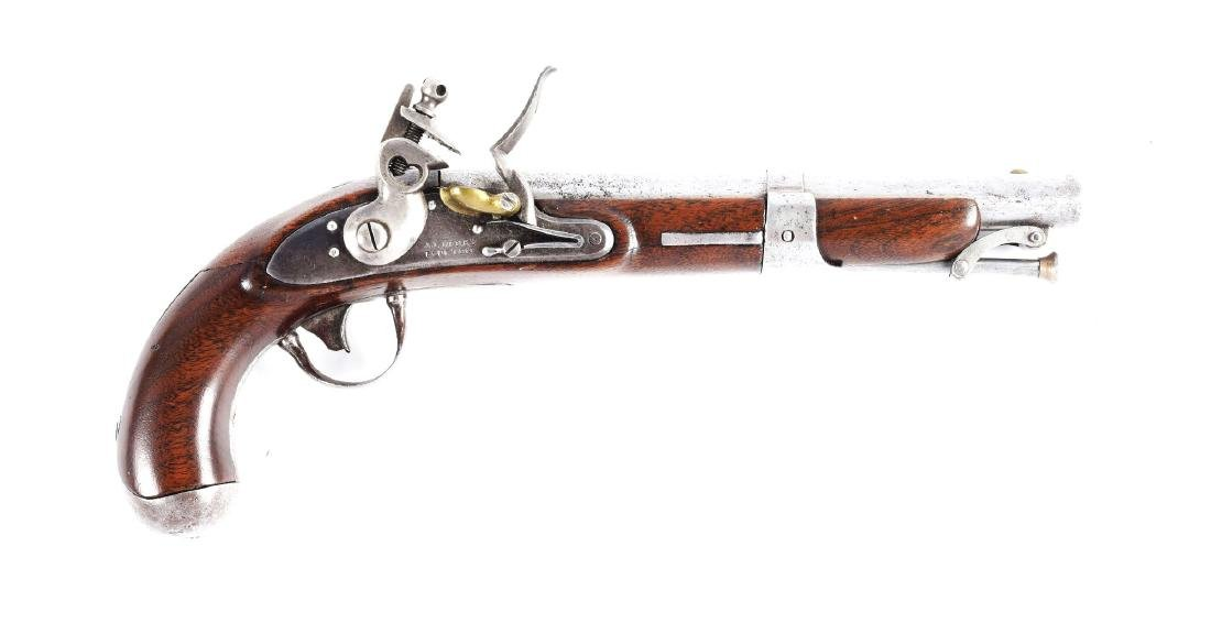(A) J.J. Henry Model 1826 Type Flintlock Pistol.