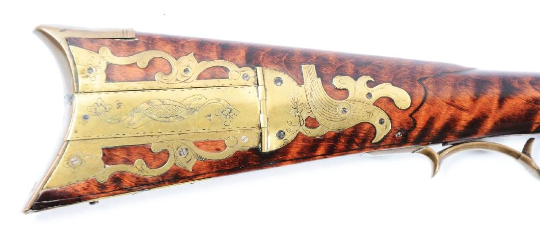 (A) Fine Carved Fullstock Flintlock Kentucky Rifle - 3