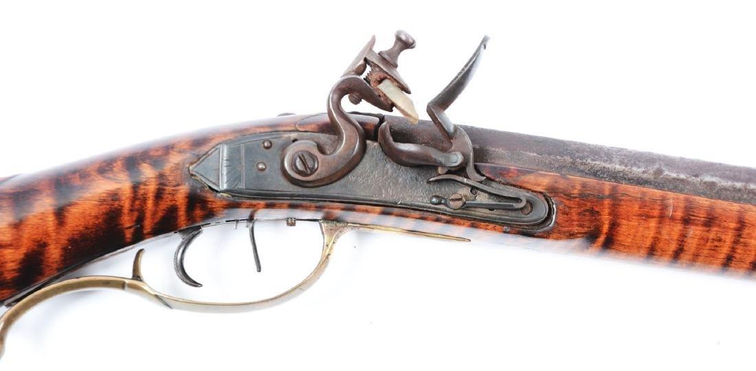 (A) Fine Carved Fullstock Flintlock Kentucky Rifle - 4