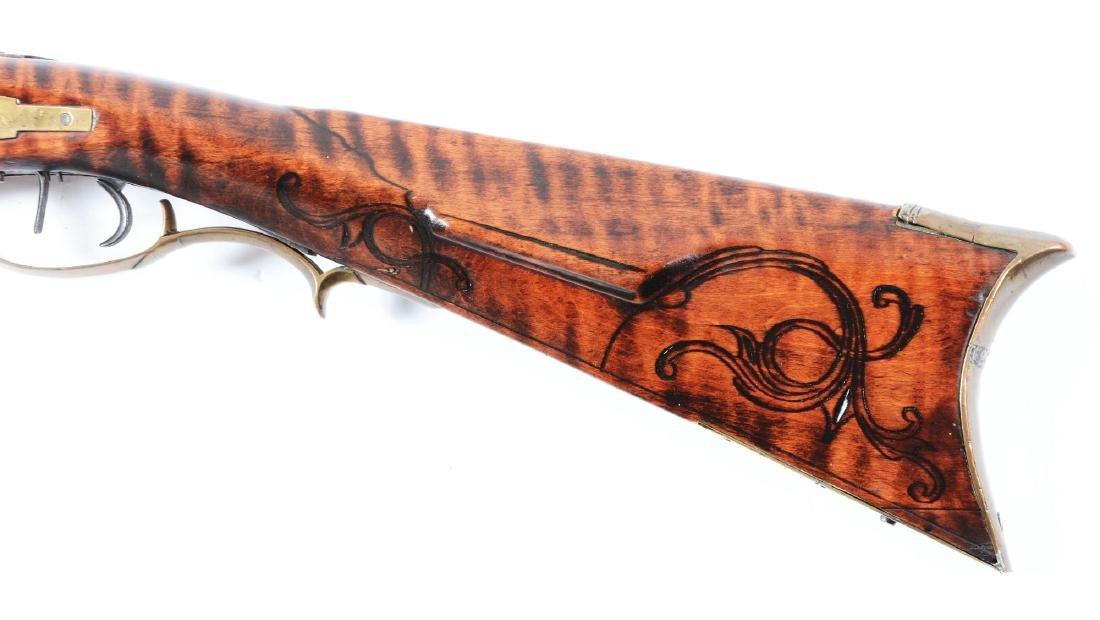 (A) Fine Carved Fullstock Flintlock Kentucky Rifle - 5