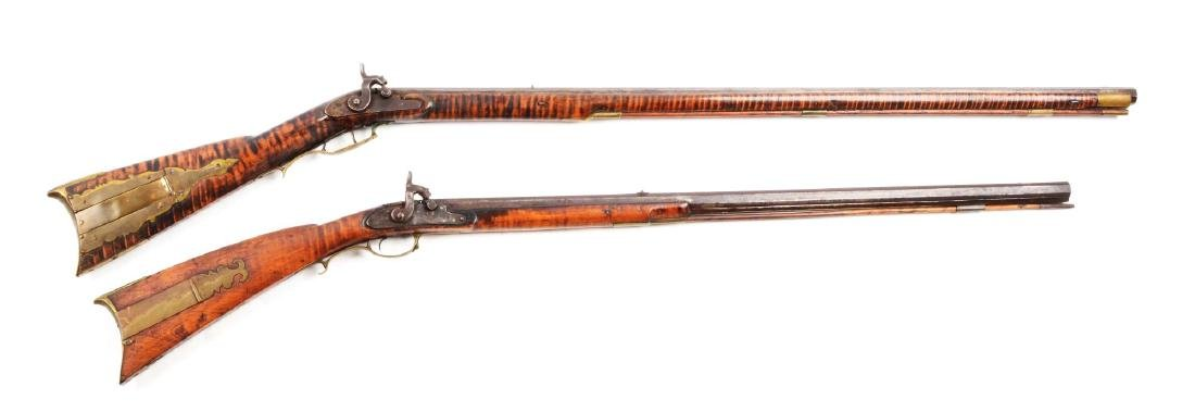(A) Lot of 2: Percussion Kentucky Long Rifles.