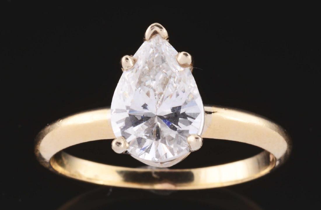 1.50 Carat Pear Shaped Diamond & 14K Yellow Gold