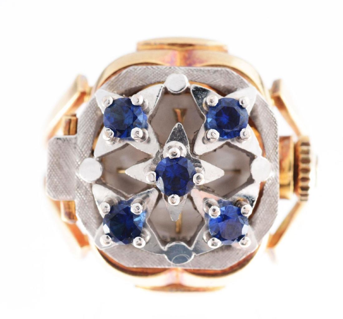 18K Two Toned Gold Watch Ring w/ Tanzanite.