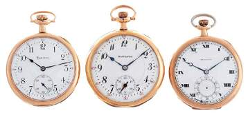 Lot of 3 Hamilton Yellow Gold Filled Pocket Watches