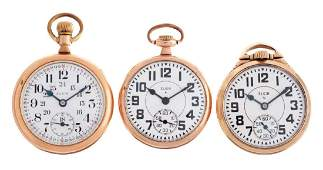 Lot of 3: Elgin Yellow Gold Filled Pocket Watches.
