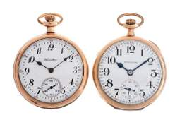 Lot of 2 Hamilton Yellow Gold Pocket Watches