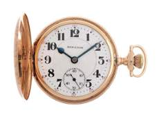 Hamilton 14k Gold H/C Pocket Watch.