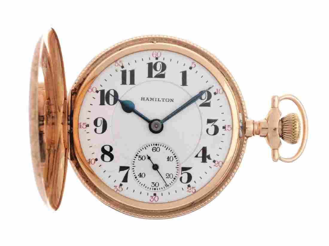 Hamilton 14k Gold H/C Pocket Watch.