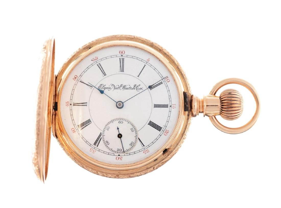 Elgin Model 3 14K Yellow Gold Pocket Watch.