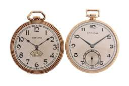 Lot of 2 Hamilton 14K Gold Filled Pocket Watches