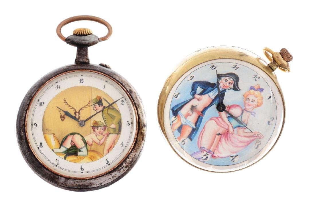 Lot of 2: Erotica Pocket Watches.
