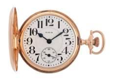 Elgin Grade 242 14K Rose Gold Pocket Watch.