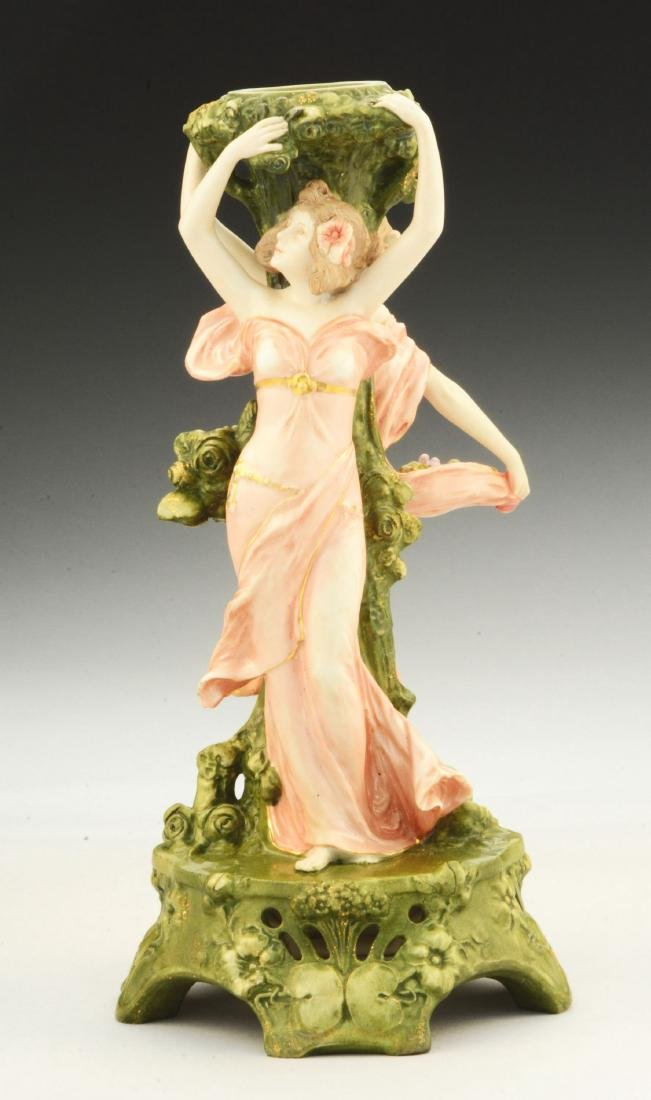 Ernst Wahliss Ceramic Tall Figural Candlestick.