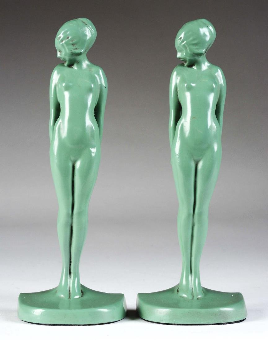 Lot of 2: Frankart Gree Metal Nude Bookends.