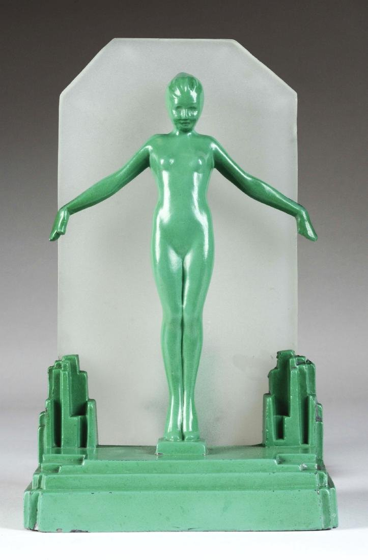 "Frankart Green Metal & Frosted Glass ""Silhouette"" Lamp."