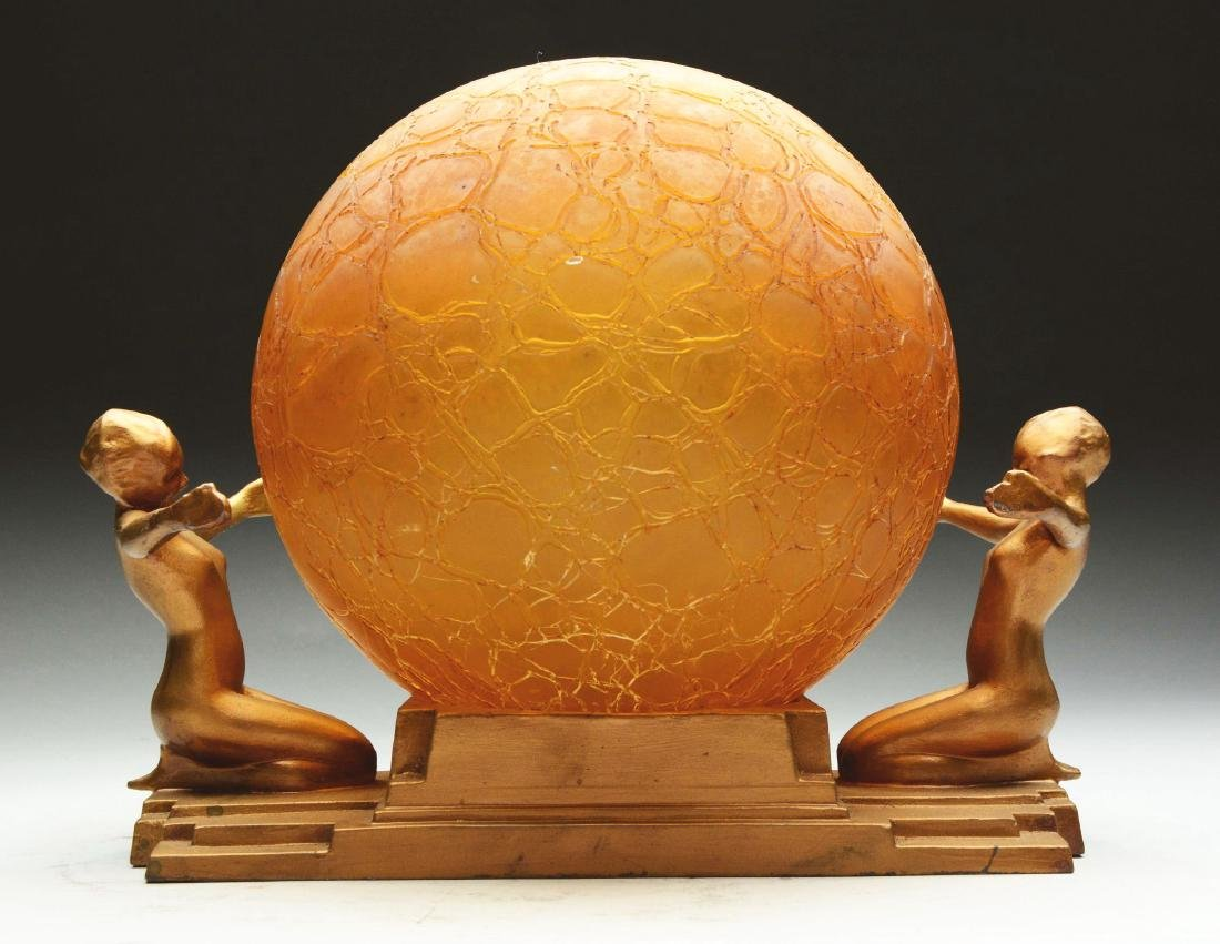 Frankart Bronzed Metal & Amber Crackled Glass Globe