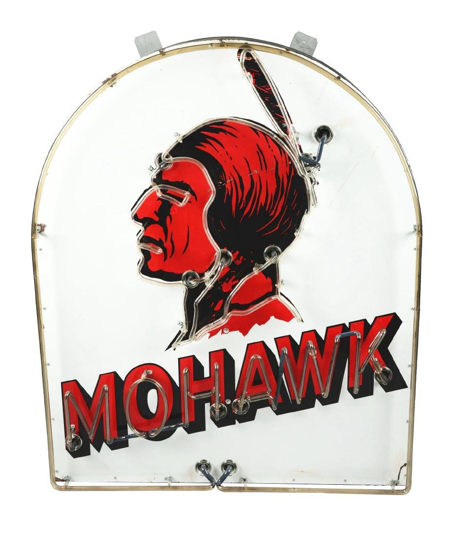 Mohawk Gasoline Tombstone-Shaped Porcelain Neon Sign.