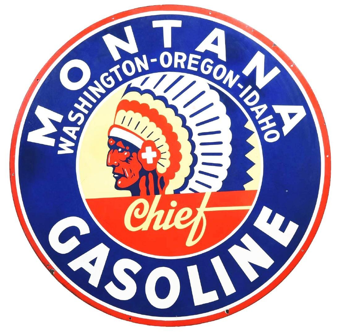 Montana Chief Gasoline Porcelain Station Identification