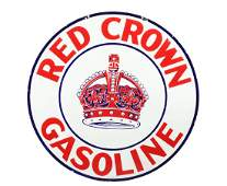 Red Crown Gasoline Porcelain Sign w/ Crown Graphic.
