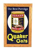 Restored Quaker Oats w/ Box Graphic Porcelain Sign.