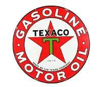 Texaco (Black T) Gasoline Motor Oils Porcelain Sign.