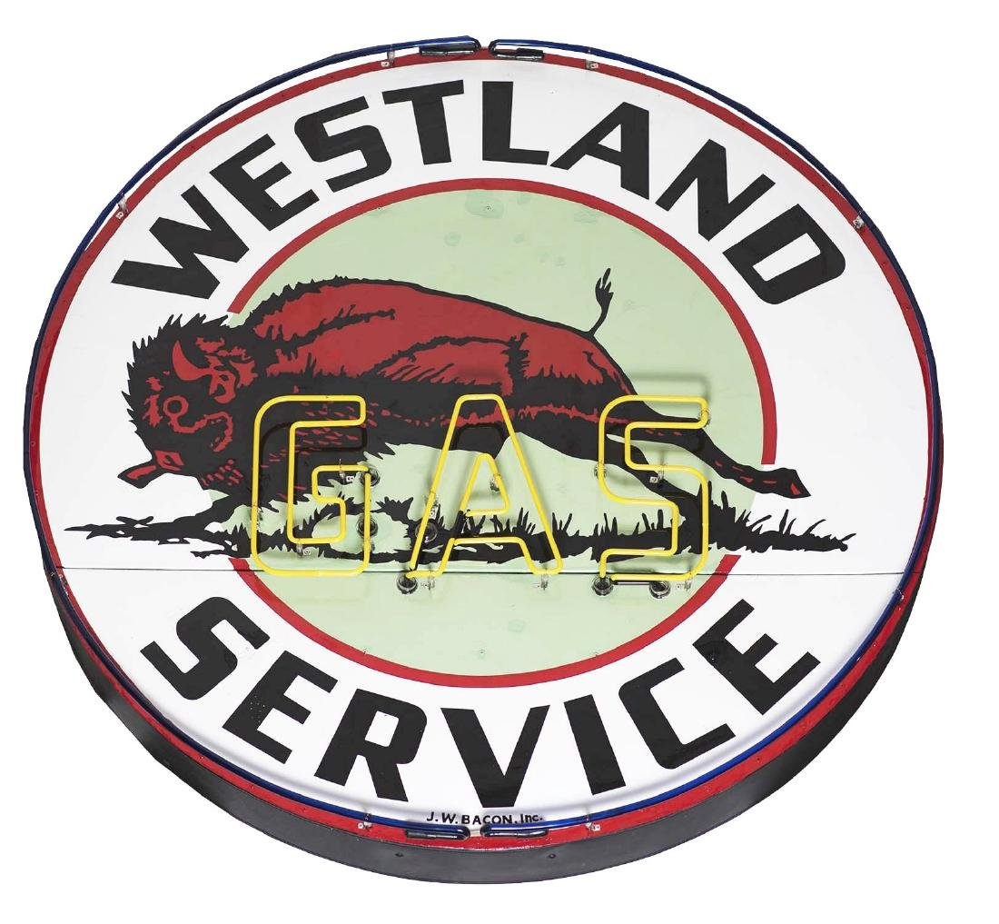 Very Rare Westland Gas Service Station Porcelain Neon