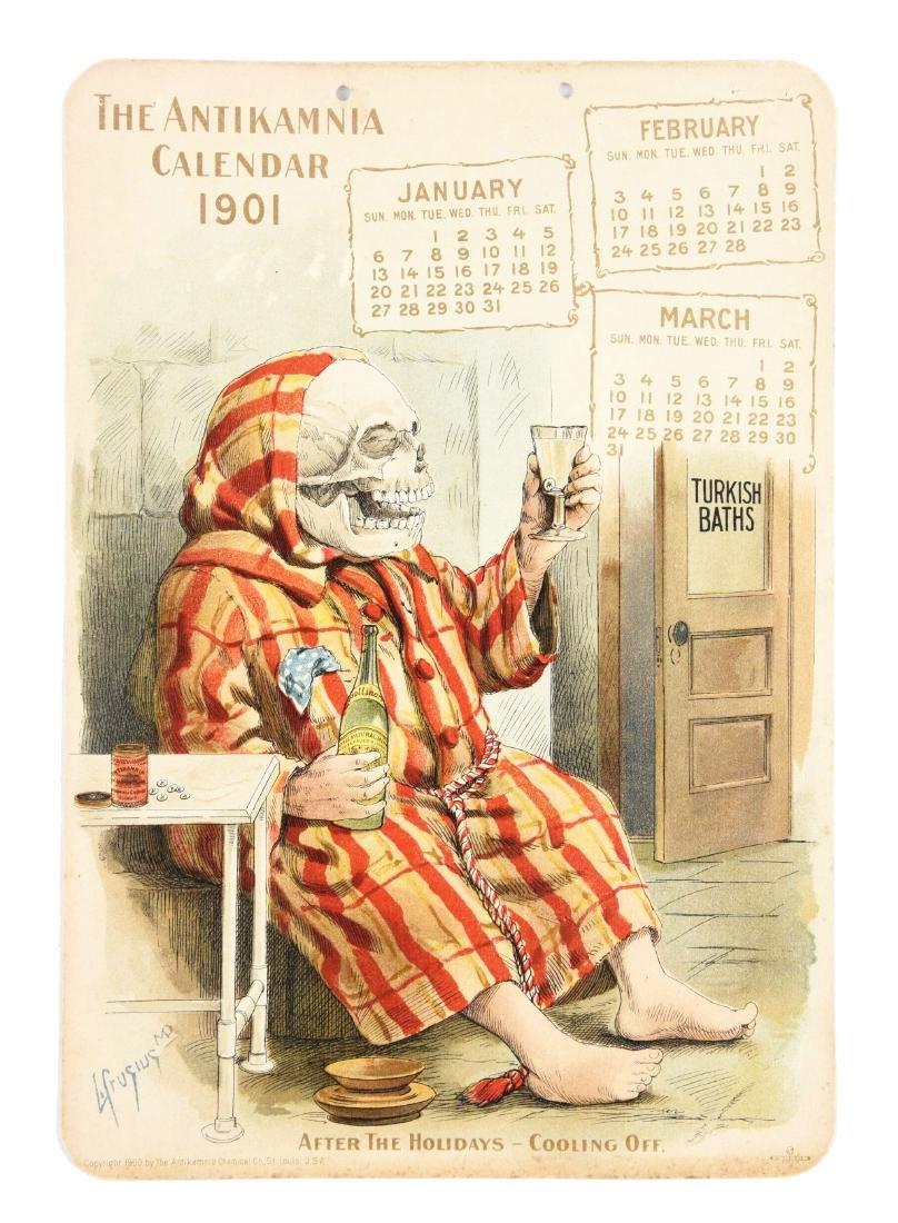 Lot of 4: Antikamnia 1901 Calendars.