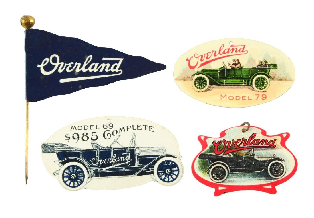 Lot of 4: Overland Automobile Advertising Pins.