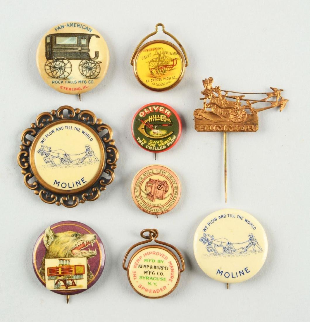 Lot of 9: Farming Advertising Pins.