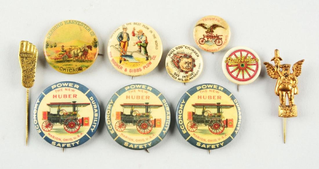 Lot of 10: Farming Advertising Pins.