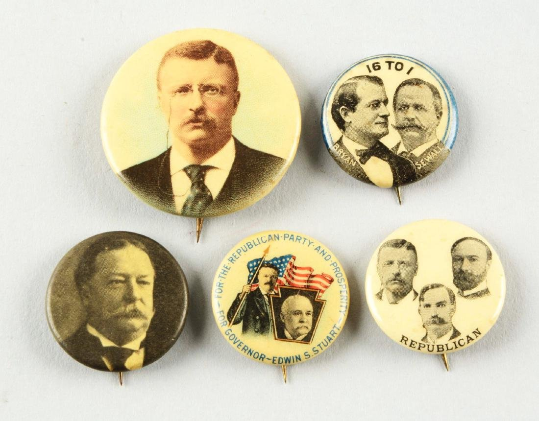 Lot of 5: Presidential Advertising Pins.