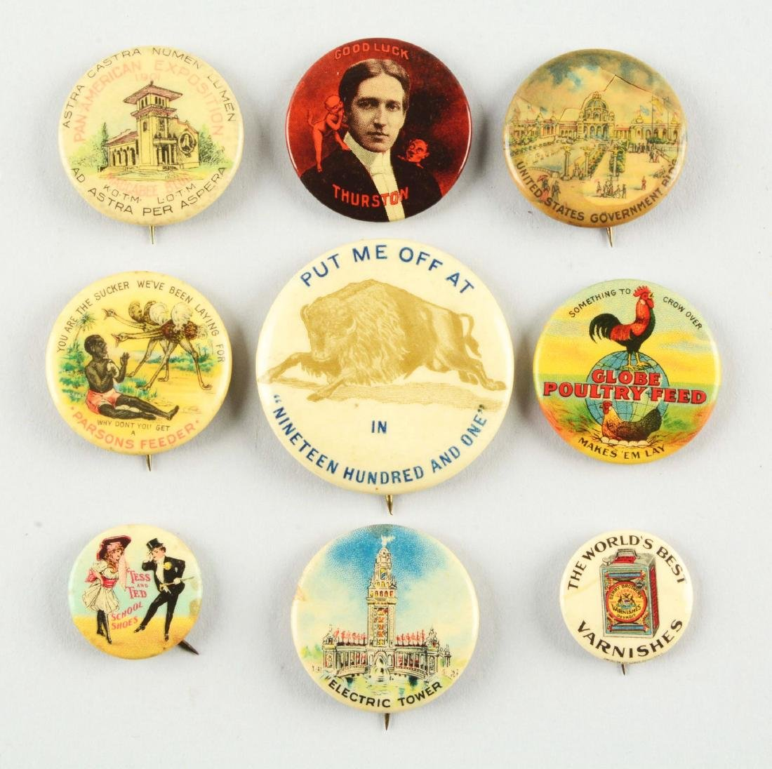 Lot of 9: Assorted Advertising Pins.