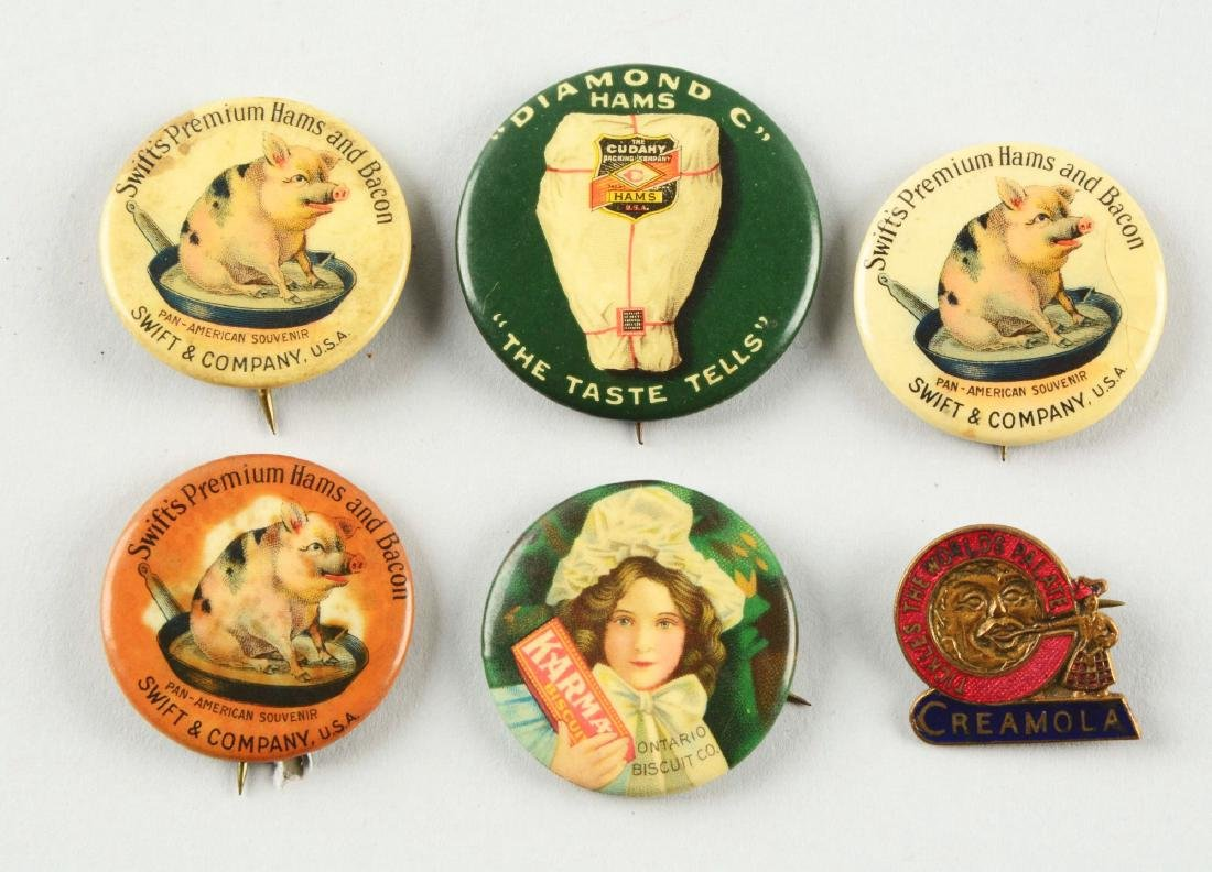 Lot of 6: Food Related Advertising Pins.