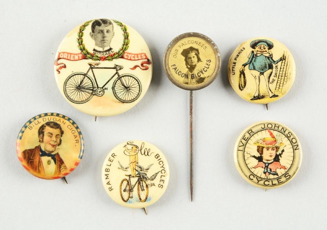 Lot of 6: Bicycle & Assorted Advertising Pinbacks.