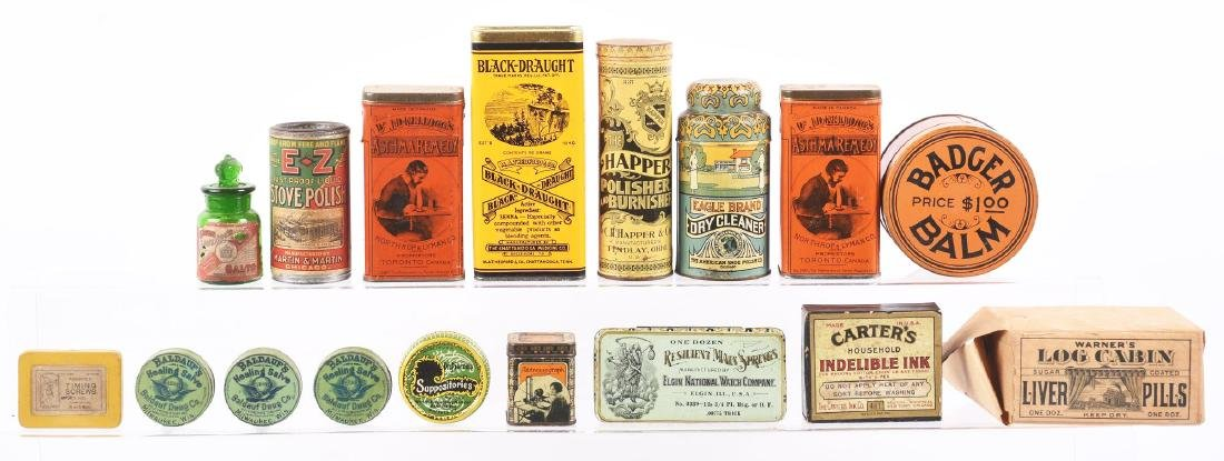 Lot of 17: Small Product Tins & Containers.