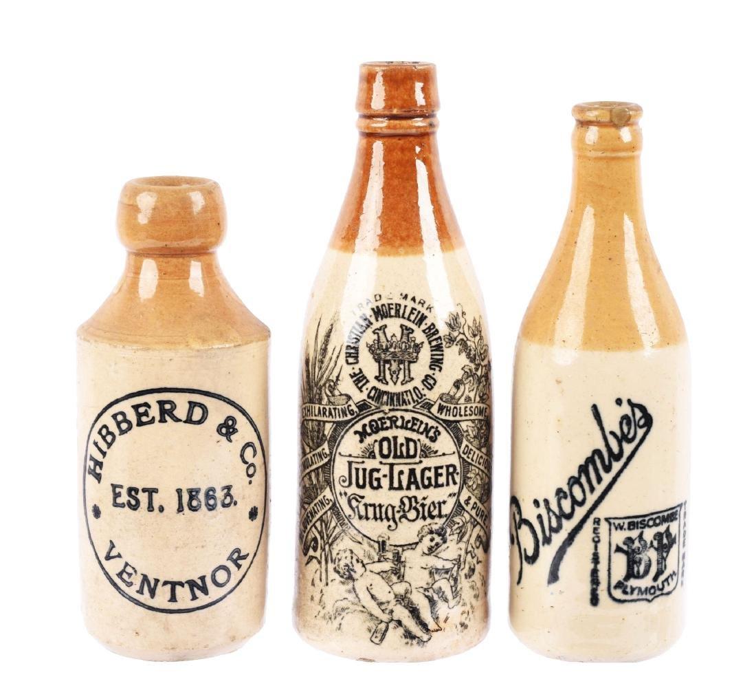 Lot of 3: Beer & Ginger Beer Stoneware Bottles.