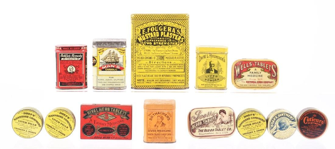 Lot of 13: Early Medicinal Tins.