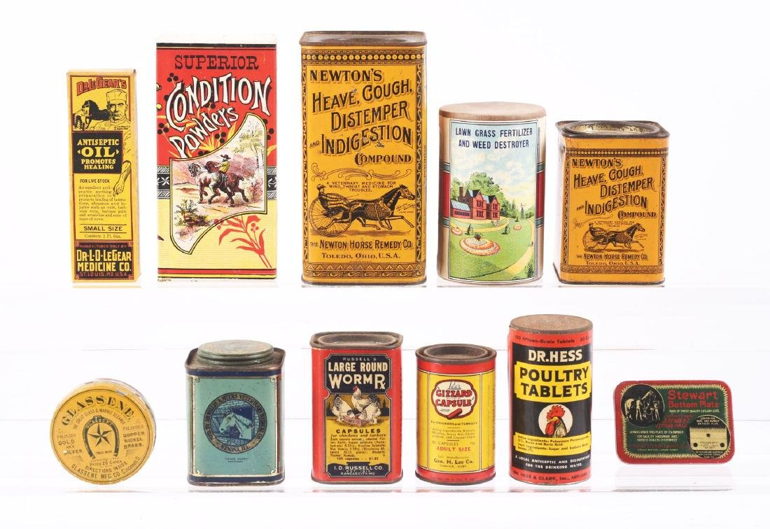 Lot of 11: Early Veterinarian Tins.