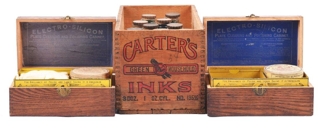 Lot of 3: Wooden Boxes of Inks & Polish.