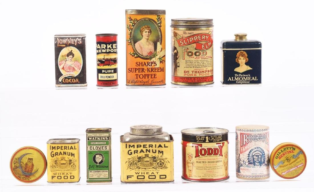 Lot of 12: Advertising Assorted Food Tins.