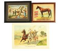 Lot of 3 Horse Related Paper Advertising Signs