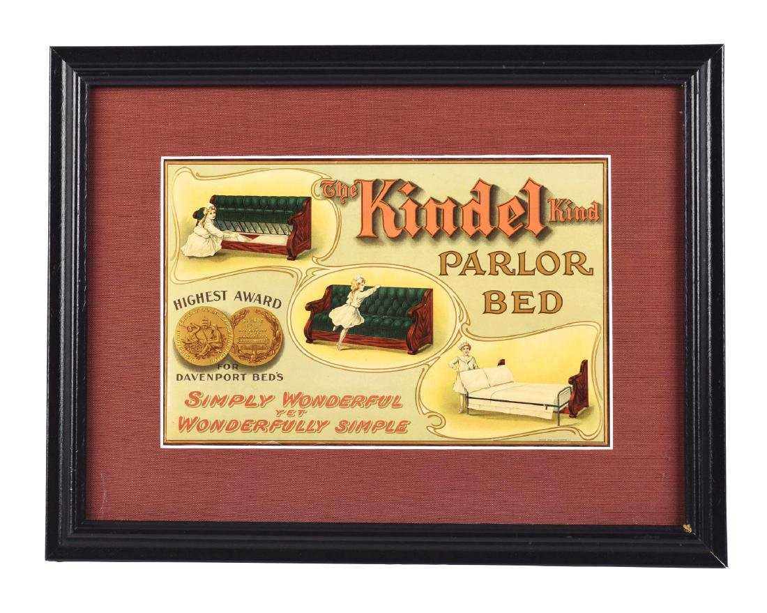 Kindel Kind Parlor Bed Celluloid Advertising Sign.