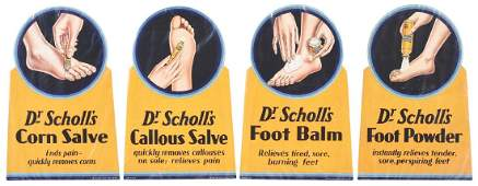Lot of 4: Dr. Scholl's Cardboard Advertising Signs.
