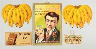 Lot of 5 Food  Tobacco Cardboard Advertising Signs