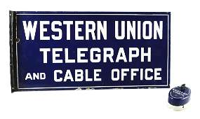 Lot Of 2 Western Union Advertising Sign  Porcelain