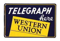 Western Union Porcelain Advertising Flange Sign