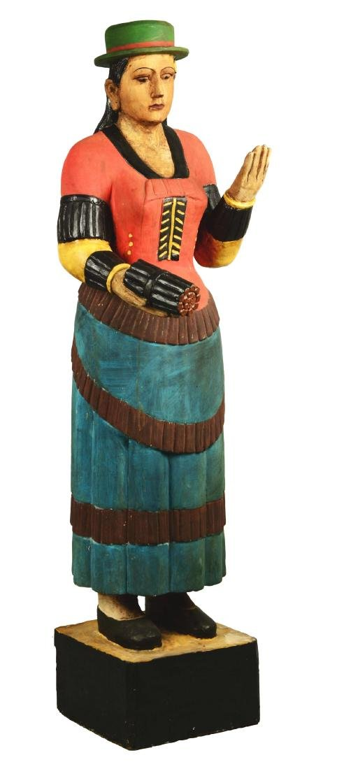 Early Carved Wooden Tobacco Cigar Store Indian Figure.