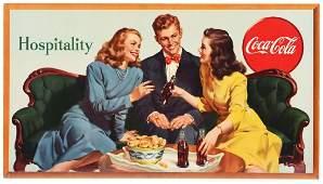 Large Hospitality Coca-Cola Cardboard Sign.